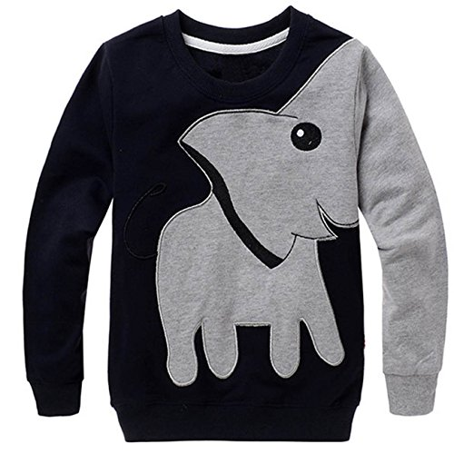 Little Boys Xmas Shirts Toddler Long Sleeve Tops Kids Elephant Tee Child Sport Sweatshirt 5 6 T