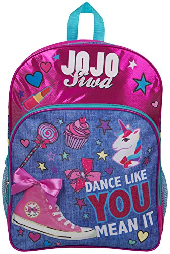 JoJo Siwa Bow Backpack Ruck Sack Sholder Bag Denim Large Poket Print Back Pack Unicorn Bows and Glitter Details Perfect School , Holiday or Dance Bag