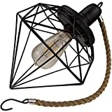 Yard Island: Solar LED Edison Bulb Large Hanging Cage Lantern