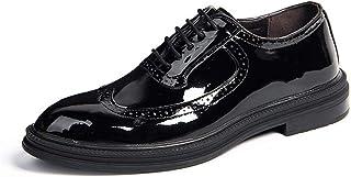 HIIHHIIHI حذاء للرجال غير رسمي، مزود برياضيات أكسفورد للرجال لمعان، أسود لامع، المقاس: 43 EU
