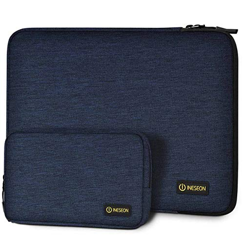 I INESEON Laptop Sleeve Case for 14-inch HP Lenovo Acer Dell Chromebook Notebook, 2016-2019 MacBook Pro 15, 15'' Surface Laptop 3, Shockproof Protective Cover with Accessory Pouch, Dark Blue