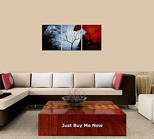 Price comparison product image PEACOCK JEWELS Premium Quality Canvas Printed Wall Art Poster 3 Pieces / 3 Pannel Wall Decor Abstract Painting,  Home Decor Pictures - with Wooden Frame