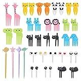 OFNMY Juego de 40pcs tenedores de palillos de frutas para animales, mini palillos de dientes de dibujos animados, decoración para fiestas de niños