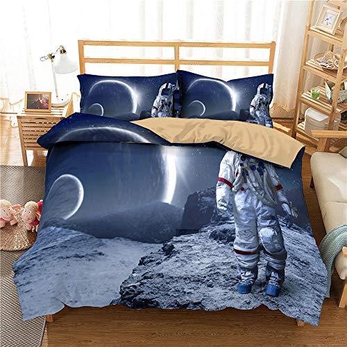 HGFHGD Moon 3D Space Astronaut Muster Bettwäsche Jungen Erwachsene Kinder Bettbezug Set Kissenbezug Steppdecke Bettbezug Bettbezug Bettbezug