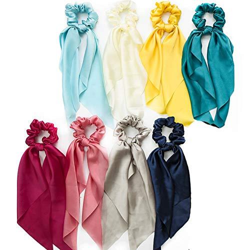 8pcs Gomas para el pelo de gasa Bowknot Banda de pelo de seda satinada Accesorios para el cabello con soporte de cola de caballo elástico para mujeres Niñas (Colores claros)