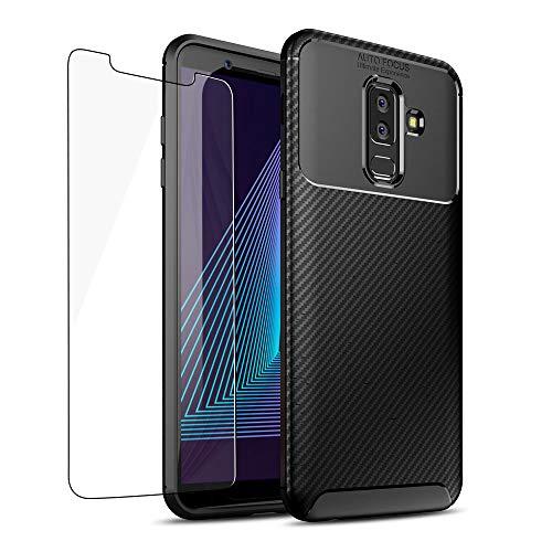 Frofine – Carcasa para Galaxy J3 (2018), de Fibra de Carbono – Funda para teléfono con [1 Hoja de Vidrio Templado HD] Ultrafina, Silicona Mate, antigolpes, antigolpes