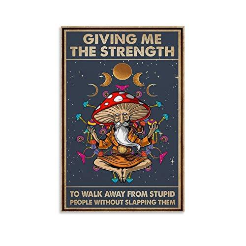 jiemao Hippie Pilz Yoga Walk Away ohne Schlittern Poster Dekorative Malerei Leinwand Wandkunst Wohnzimmer Poster Schlafzimmer Gemälde 40 x 60 cm