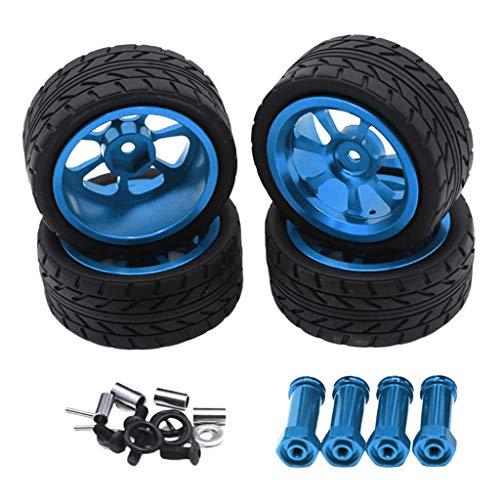 harayaa 4Pcs RC Car Upgrade Parts 12mm Hex Tires & Wheel for 1/14 Wltoys 144001 A959 Remote Contol Vehicle - Blue