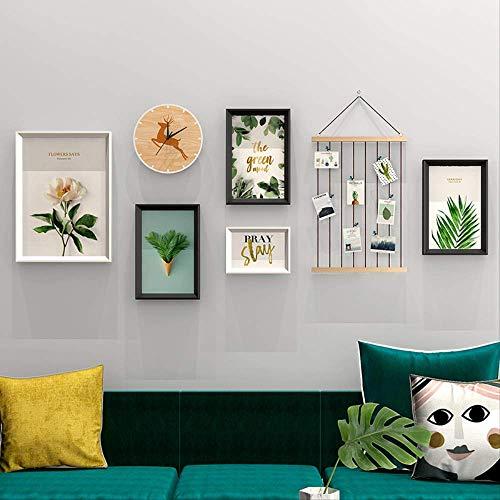 YKDDII fotolijsten Modern creatief ontwerp muur opknoping fotolijstset met commodity plank materiaal fotolijst met klok 5 stks fotolijsten klassieke mode multifunctionele fotolijst