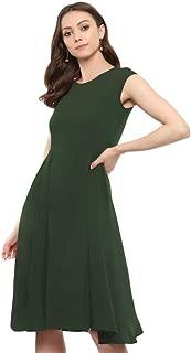 Uptownie Lite Women's Crepe Solid Cap Sleeves Skater Dress