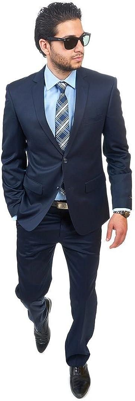 AZAR MAN Slim Fit Men Suit 2 Button Navy Blue Notch Lapel Flat Front Pants