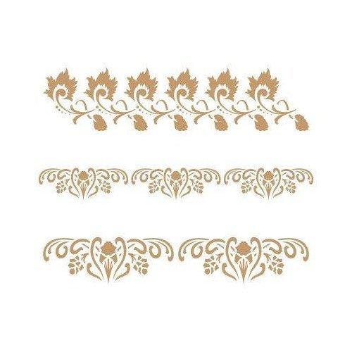 TODO STENCIL Deco Cenefa 055 Tres Florales, Medidas: Stencil 20 x 20 cm - Diseño 18,6 x 14,7 cm