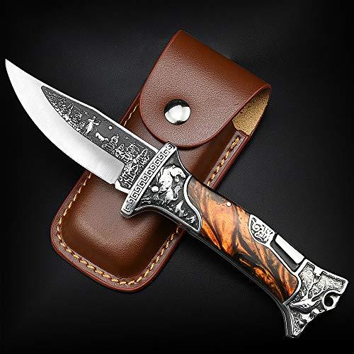 Nedfoss Zweihand- Klappmesser, Taschenmesser mit Gürtelclip, EDC Messer mit Back Lock, Outdoormesser& Jagd klappmesser in schönes Design, scharf