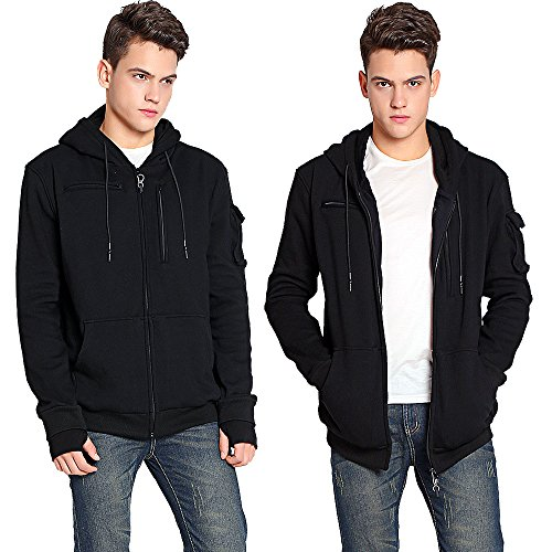 Two teens in product shot wearing a travel hoodie jacket.