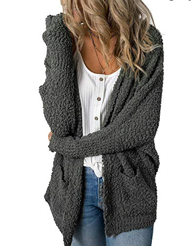 Imily Bela Womens Fuzzy Chunky Cardigan Popcorn Oversized Sherpa Slouchy Open Sweater Coat Dark Grey