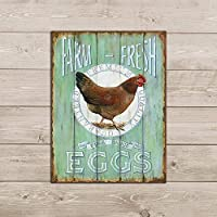 農場の新鮮な放し飼いの卵レトロなヴィンテージブリキ看板