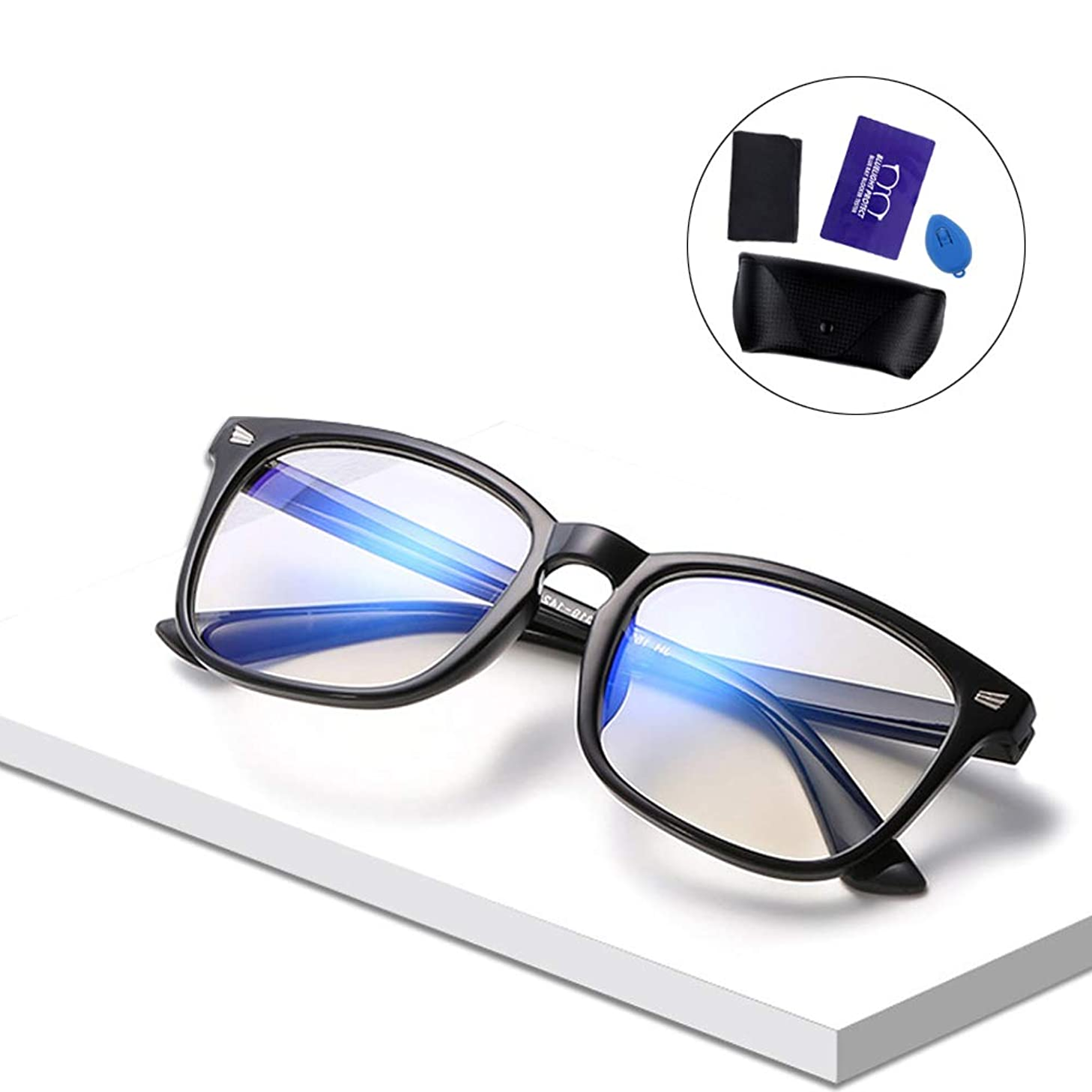 OKAWA DACH Blue Light Blocking Glasses UV Fliter Transparent Lens Anti Eyestrain Lightweight Frame Computer Glasses for Women/Men (Black)