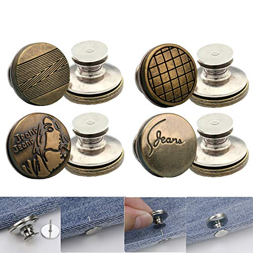 Flat Back Jeans Button Pins Perfect Fit Instant Buttons Reduce Pants Waist in Seconds No-Sew Replacement for Jeans Jackets and Overalls 4 Sets.