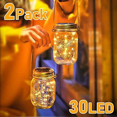 Solarlampe, 2 Stück Solar Mason Jar Licht LED Solar Licht WarmweißEinmachglas Laterne Solarleucht für Außen Garten Deko, Wasserdichte Garten Hängeleuchten für Außen, Party