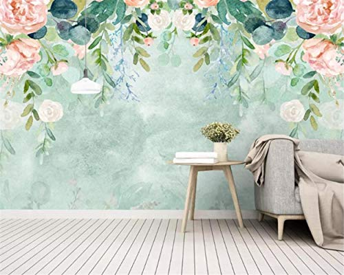 MAZF Wallpaper Small Fresh Hand-Painted Watercolor Painting Flowers Garden Mural Background Wall 3D Wallpaper tapeta