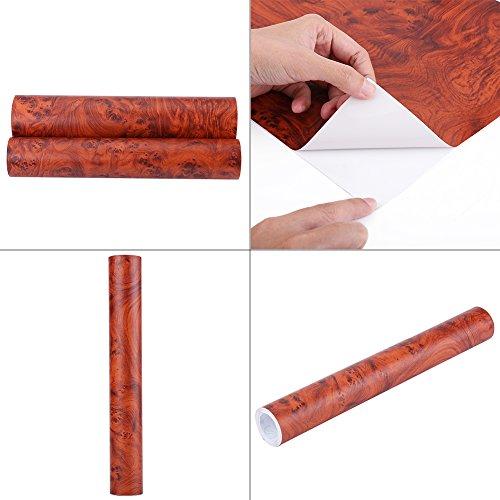 Qiilu Selbstklebende Holzmaserung Strukturierte Auto Innenfolie Panel Wrap Aufkleber Vintage Style(W1398)