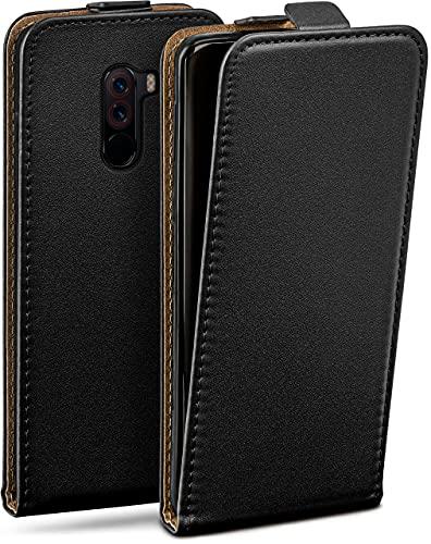moex Flip Hülle für Xiaomi Pocophone F1 - Hülle klappbar, 360 Grad Klapphülle aus Vegan Leder, Handytasche mit vertikaler Klappe, magnetisch - Schwarz