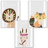 Frechdax® 3er Set Kinderzimmer Poster Babyzimmer DIN A4