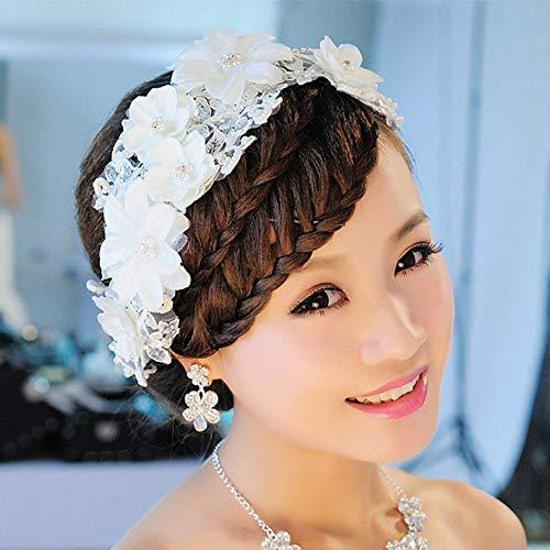 Jijuai554 Tiara de novia con incrustaciones de perlas de imitación de encaje...