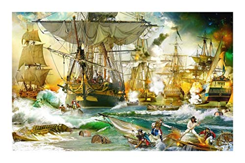 JAZC Jigsaws puzzle 5000 Pieces Of Sailing Naval Battle Adult Children Puzzle Intellectual Educational Toys Decompression Gifts