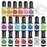 Pigmento Para Resina Epoxi UV, 10ml X 20 Colores Colorante resina epoxi líquido - Tinte Resina Epoxi de Concentrado para Arte de color de resina, Fabricación de Joyas Resine, Pintura, DIY Manualidades