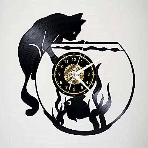 GenericBrands Relojes de Pared Gato de pecera Disco de Vinilo Retro Pegatina Pared Modernos DIY de Adhesivo de Etiqueta de Decoración llenado Vacía 12 Pulgada(Sin Luces)