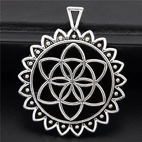 FGHHT 3 Piezas deColor Plata en Forma Redonda encantos de Flores Encontrar Yoga OM Collares Colgante AdornosSuministros 49x41mm