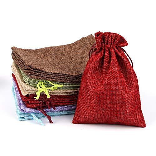 30 Stück Jutesäckchen Jute-Beutel Jute-Sack für Adventskalender Weihnachten Hochzeit DIY Geschenk Jutebeutel Stoffbeutel Baumwolle mit Kordelzug Natur Säckchen Geschenksäckchen Sack Beutel 13 x 18 cm