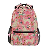 Golden Retriever Dog Dogs Florals Backpacks College School Book Bag Travel Hiking Camping Daypack