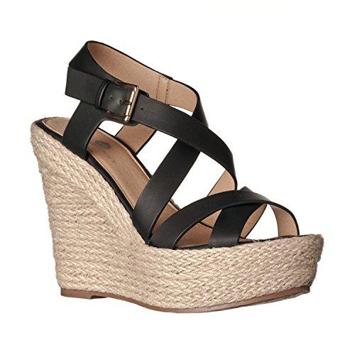 Riverberry Women's Sara Faux Leather Sandal Wedges, Black PU, 7.5