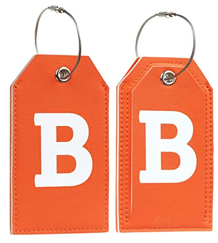 Initial Letter Luggage Tag 2 Pack with Full Privacy Cover and Travel Bag Tag Orange by Toughergun (B)