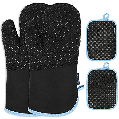 AivaToba Ofenhandschuhe und Topflappen Set,Hitzebeständig Topflappen Handschuh Set rutschfeste Topfhandschuhe Baumwolle bis zu 300°C für Kochen Backen Grillen, Schwarz