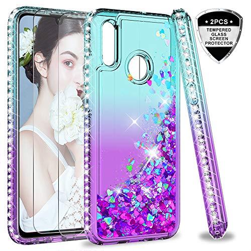 LeYi Hülle Huawei P Smart 2019 Glitzer Handyhülle mit Panzerglas Schutzfolie(2 Stück), Diamond Cover Bumper Schutzhülle für Case Huawei P Smart 2019 / Honor 10 Lite Handy Hüllen ZX Turquoise Purple
