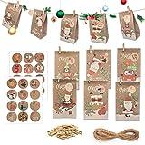 ECHOAN 24 Pcs DIY Calendario de Adviento Navidad, Bolsas de Regalo Navidad, con 24 Adhesivos Digitales de Adviento, Bolsas de Papel Kraft navideño (2)