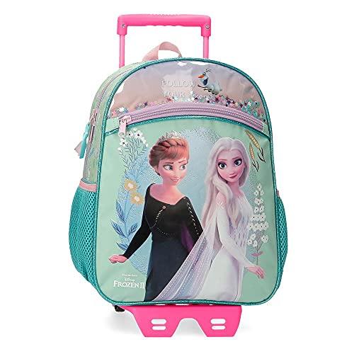 Disney Frozen Follow Your Dreams Mochila con Carro Azul 27x33x11 cms Poliéster 9,8L