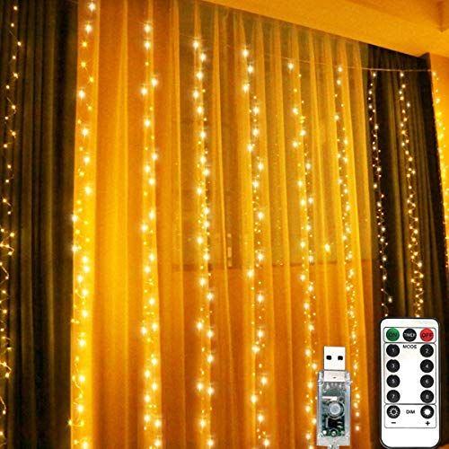 LiyuanQ 300 LED Window Curtain Fairy Lights USB Plug in Curtain String Lights 8 Modes Remote Control Twinkle Lights LED Silver String Lights for Indoor Wedding Party Garden Bedroom Decor (Warm White)