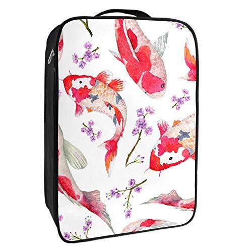 Caja de almacenamiento para zapatos de viaje y uso diario, carpas rojas con bolsa de zapatos de flores, portátil, impermeable, hasta 12 yardas, con doble cremallera y 4 bolsillos