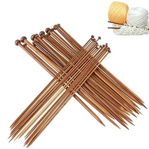 Natuce 36Pcs 18 Tailles, Aiguilles à tricoter en bambou à pointe unique, Crochet bambou crochets Set (2mm-10mm), tissage d'outils pour Dentelle, Broderie tricotage DIY pour débutants et professionnels