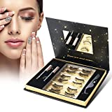 Magnetic False Eyelashes Kit Natural with Magnetic Liquid Eyeliner RXFSP Upgraded 6 Pairs Waterproof Reusable 3D Magnet Eyelashes Healthy and No Glue Needed-Easy to Move