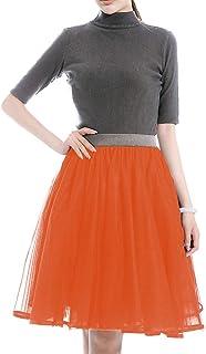 TOAH falda tutú de tul de 5 capas para mujer, longitud hasta la rodilla, para fiesta o graduación