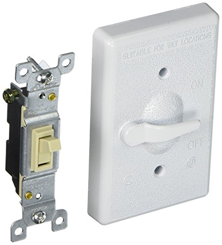 Hubbell 5121-1 Bell Raco Weatherproof Switch Cover, 4-39/64 In L X 2-53/64 In W X 39/64 In T, White