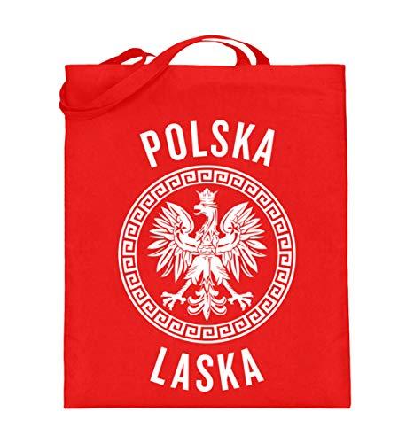 Hochwertiger Jutebeutel (mit langen Henkeln) - Polen Frauen Trikot Emblem Adler Wappen Fahne Polnische Flagge Polska Laska Geschenk