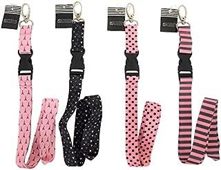 Blu Monaco - Pink Lanyard Keychain for Women Girls - 4 Pcs Set - Pretty Cute Fashion Cool Breakaway Neck lanyards - Teacher Lanyard