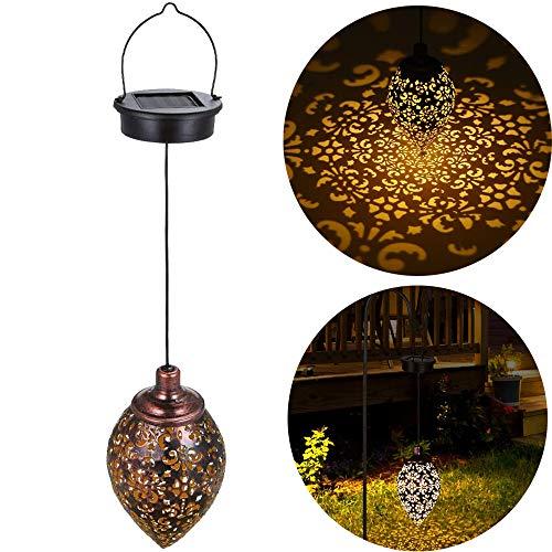 ALLOMN Lámpara Colgante Solar, Al Aire Libre Luz Solar Lámpara de Decoración de Jardín Diseño de Pantalla Hueca Impermeable, con Gancho de Metal (Hueco que Cuelga, 1 PCS)
