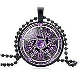 Collar de cristal con pentagrama invertido con símbolos satánicos ocultistas